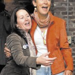 WINNER: Mayor-elect Karen Heck, right, stands with her campaign manager Dana Hernandez at 18 Below Raw Bar in Waterville Tuesday night.