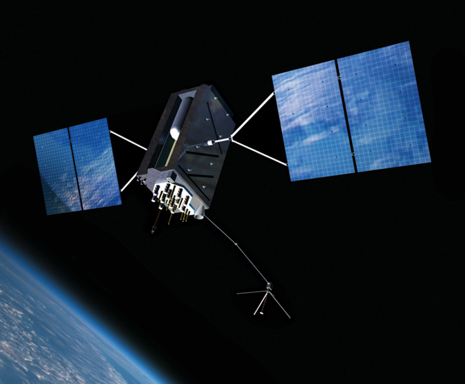 An artist's conception of a GPS Block III satellite in Earth orbit.