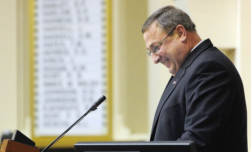 Gov. Paul LePage gives his first State of The State address to a joint session of the Maine House and Senate on Tuesday night at the State House in Augusta.