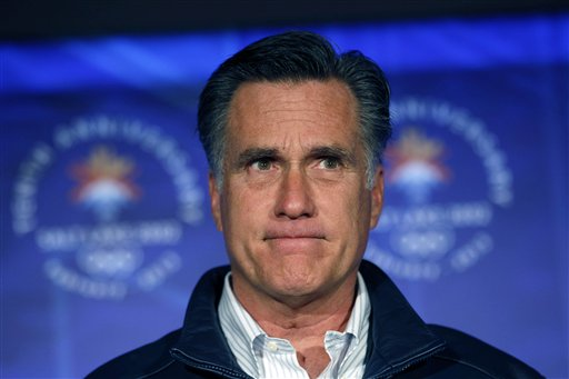 Republican presidential candidate Mitt Romney pauses while speaking to a group of former Salt Lake City Olympics committee members, marking the tenth anniversary of the games, in Salt Lake City, Utah, Saturday, Feb. 18, 2012. (AP Photo/Gerald Herbert)