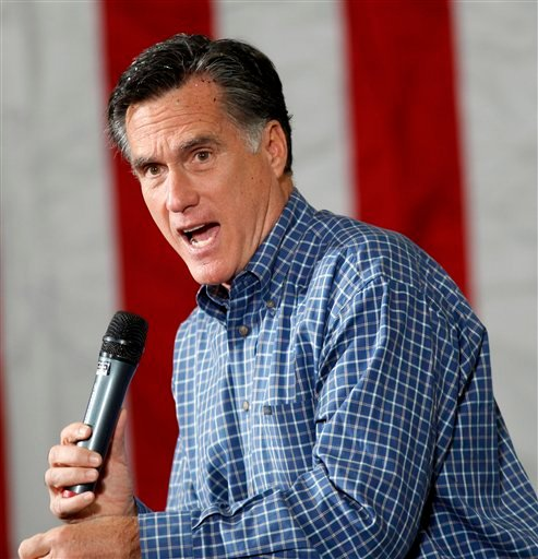 Republican presidential candidate Mitt Romney speaks at a campaign rally in Eagan, Minn., Wednesday, Feb. 1, 2012. (AP Photo/Gerald Herbert)