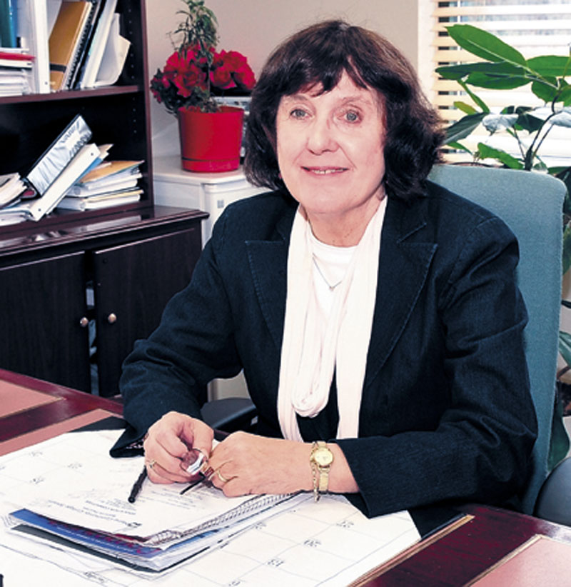 President Barbara Woodlee sits recently in her office at Kennebec County Community College in Fairfield. Woodlee has seen major improvements to the college since announcing her plans to retire two years ago, and a failure to find a suitable replacement for her means she will continue at the helm for now.