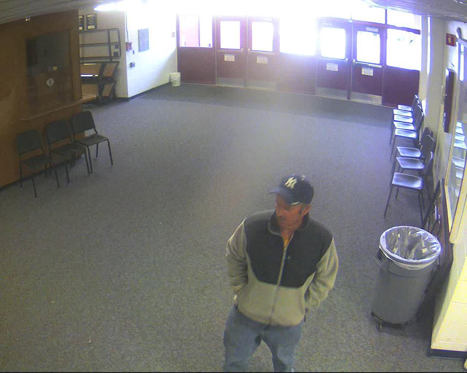 Surveillance image of suspect in theft. Bangor police say two actresses stepped into a changing room where they saw the man going through everyone's belongings.