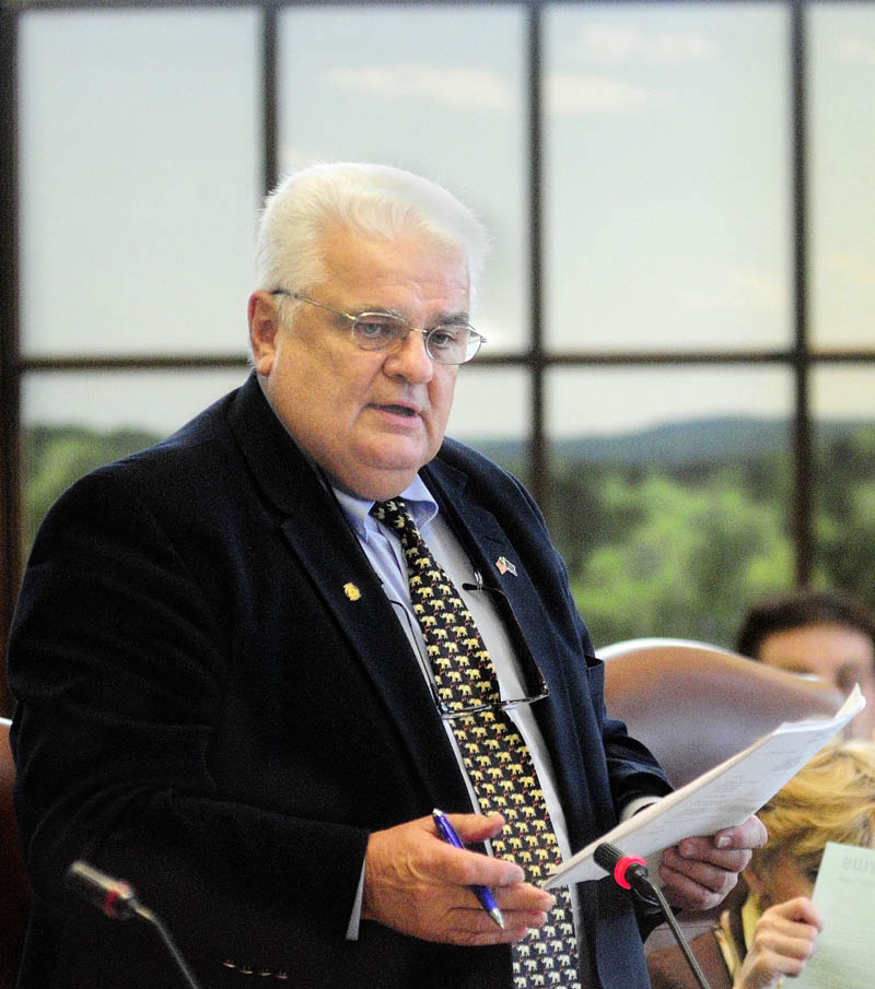 Transportation Committee Chair Sen. Ronald Collins, R-Wells, speaks during a debate on the transportation bond Wednesday afternoon in the State House in Augusta.The Senate passed several bond bill including onf for $51.5 million to fund highways, bridges and other transportation projects.