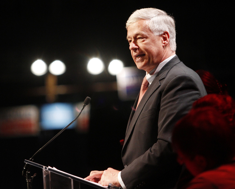U.S. Rep. Mike Michaud, D-2nd District, speaks during the Democratic convention at the Augusta Civic Center last Friday.