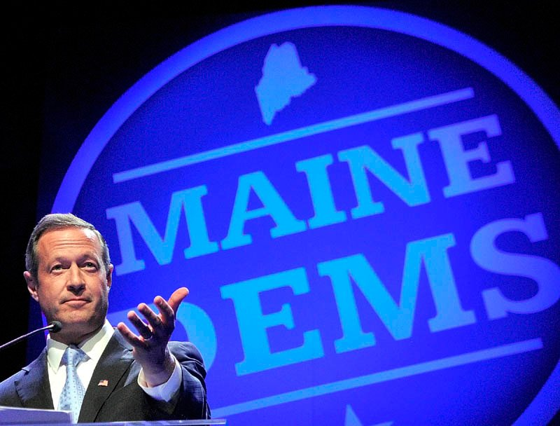 SPEAKER: Maryland Gov. Martin O'Malley gives the keynote address at the Maine Democratic Party State Convention on Saturday evening at the Augusta Civic Center.
