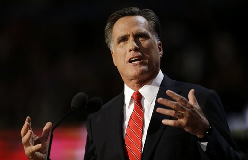 FILE - In this Aug. 30, 2012 file photo, Republican presidential candidate Mitt Romney speaks at the Republican National Convention in Tampa, Fla. Republicans in Tampa, Florida, this week cast President Barack Obama as an executive who takes his cues from Europe, poses a threat to the traditional family and is unfamiliar with American staples like garage sales and lemonade stands. Next week in Charlotte, North Carolina, Democrats will color in their picture of Republican candidate Mitt Romney. They'll fill out what they've sketched in both the 2008 presidential campaign and the last two years of the current race. (AP Photo/David Goldman, File)