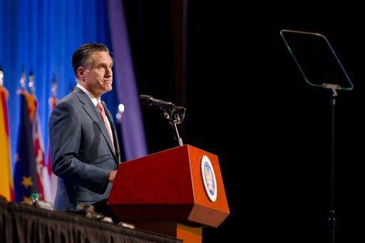 Republican presidential candidate, former Massachusetts Gov. Mitt Romney speaks to members of the National Guard Association Convention in Reno, Nev., Tuesday. The Associated Press photo