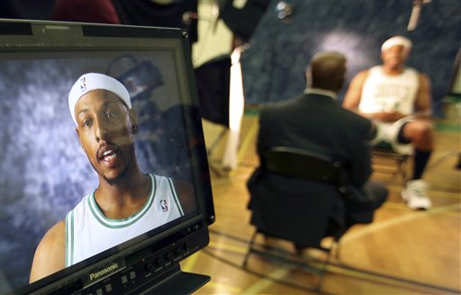 Boston Celtics' Paul Pierce tapes an interview during Celtics NBA basketball media day at their training facility in Waltham, Mass., Friday, Sept. 28, 2012. (AP Photo/Michael Dwyer)