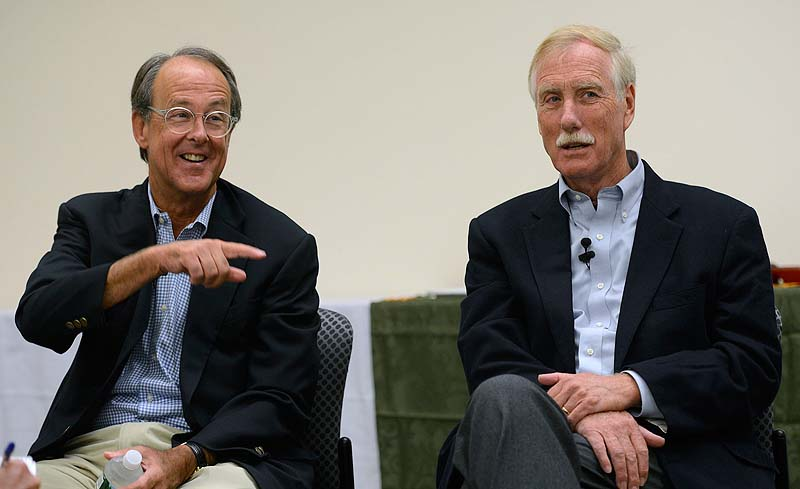 Erskine Bowles, left, former President Clinton's chief of staff and co-chairman of the federal panel on fiscal responsibility, speaks at a campaign event for Angus King, right, a U.S. Senate candidate, at the University of Southern Maine in Portland on Sunday.
