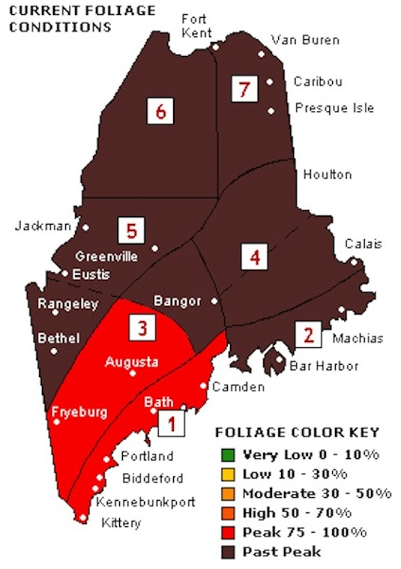 Maine fall foliage conditions for Oct. 17.