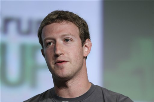 Facebook CEO Mark Zuckerberg speaks at a technology conference in San Francisco in this Sept. 11, 2012, photo.