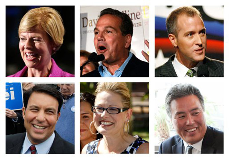 This combination of 2009-2012 file photos shows, top row from left; Wisconsin Democratic Senate candidate, Rep. Tammy Baldwin; Rep. David Cicilline, D-R.I. New York Democratic Rep. candidate Sean Patrick Maloney; bottom row from left; Republican U.S. House candidate Richard Tisei of Massachussets; former Arizona state Sen. Kyrsten Sinema and Congressional candidate Mark Takano of California. Of the four openly gay members of Congress, the two longest-serving stalwarts are vacating their seats. Instead of fretting, their activist admirers are excited about a record number of gays vying in 2012 to win seats in the next Congress - and to make history in the process. (AP Photo)