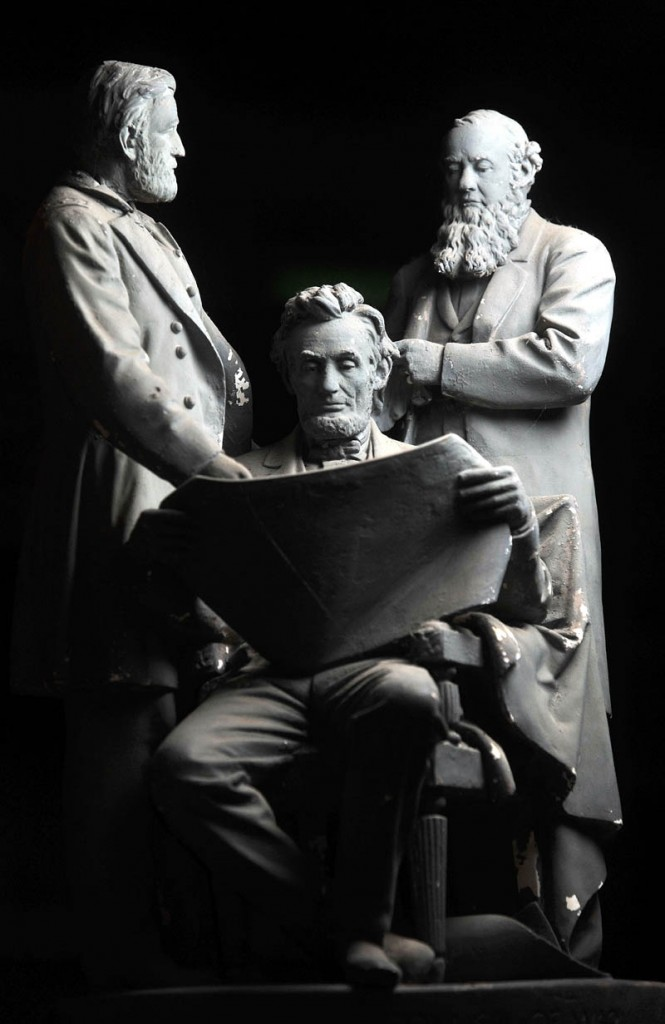 A plaster cast from 1868 shows a detailed scene of an 18-inch-tall President Abraham Lincoln holds a war council with Gen. Ulysses Grant and Secretary of War Edwin Stanton. It sold for $25 in 1868.