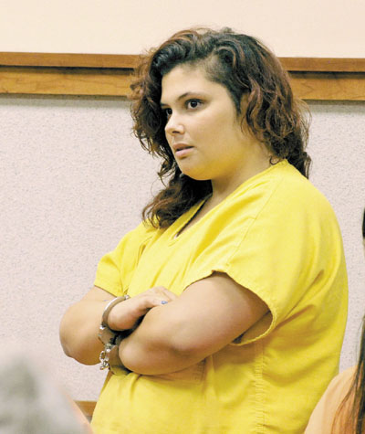 WATERVILLE WOMAN IN COURT: Jamilee Kus makes her first appearance in Cumberland County Unified Criminal Court before Superior Court Justice William Broderick.