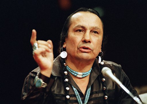 In this Jan. 31, 1989, photo, Russell Means, then-head of the American Indian Movement, testifies before a special investigative committee of the Senate Select Committee on Capitol Hill.