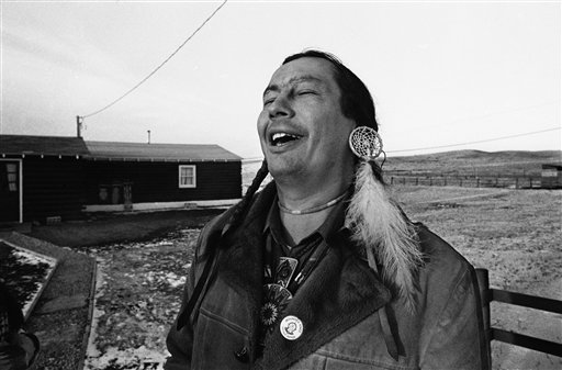 Russell Means, then-leader of the American Indian Movement (AIM), in a Feb. 4, 1974, photo
