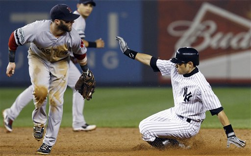 Boston Red Sox second baseman Dustin Pedroia, left, cannot make the tag as New York Yankees' Ichiro Suzuki is safe stealing during the sixth inning of their baseball game at Yankee Stadium in New York, Wednesday, Oct. 3, 2012. (AP Photo/Kathy Willens)