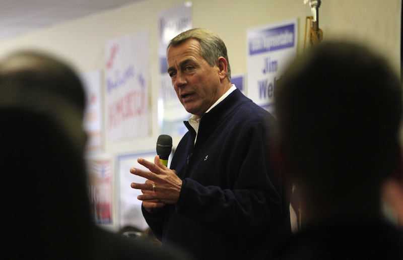 House Speaker John Boehner of Ohio campaigns for Republican presidential candidate, former Massachusetts Gov. Mitt Romney, Monday, Oct. 8, 2012, in Derry, N.H. (AP Photo/Jim Cole)