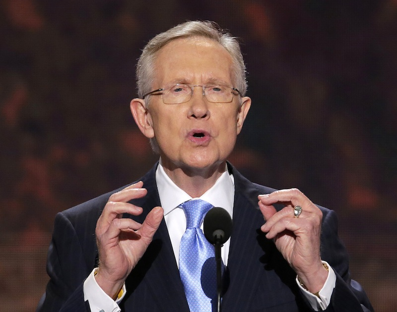 In this Sept. 4, 2012 file photo, Senate Majority Leader Harry Reid of Nevada addresses the Democratic National Convention in Charlotte, N.C. Troopers say Reid has been taken to the hospital after what appears to be a rear-end crash on an interstate through Las Vegas. (AP Photo/J. Scott Applewhite)