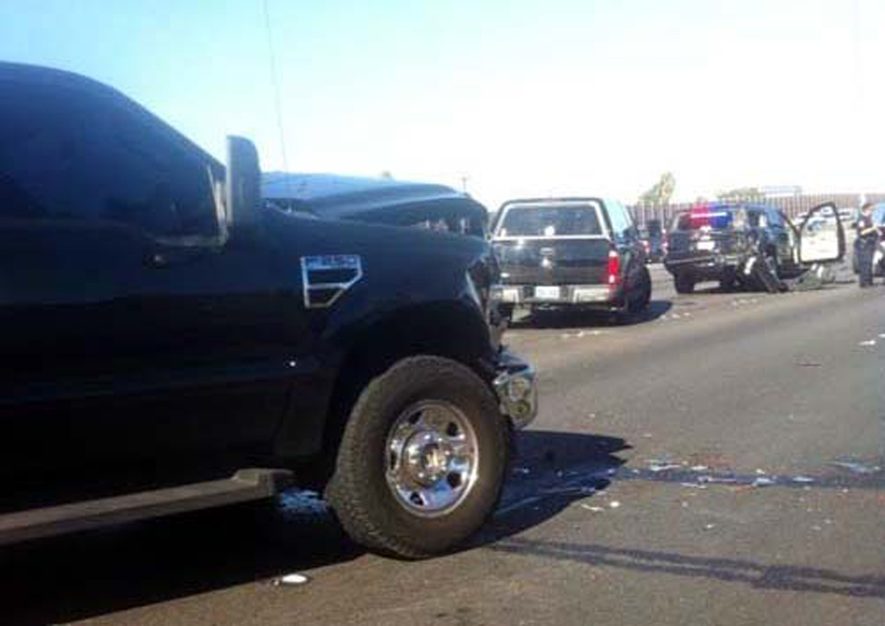 This cell phone image from the scene shows damage to a vehicle in the motorcade that was transporting U.S. Sen. Harry Reid, D-Nev., on Interstate 15 near Sahara Avenue in Las Vegas on Friday, Oct. 26, 2012. A University Medical Center spokeswoman says Reid is in good condition, but declined to provide specifics on injuries. (AP Photo/Las Vegas Review-Journal, Mike Blasky)
