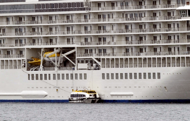 The World prepares to transport passengers to the Rockland waterfront.