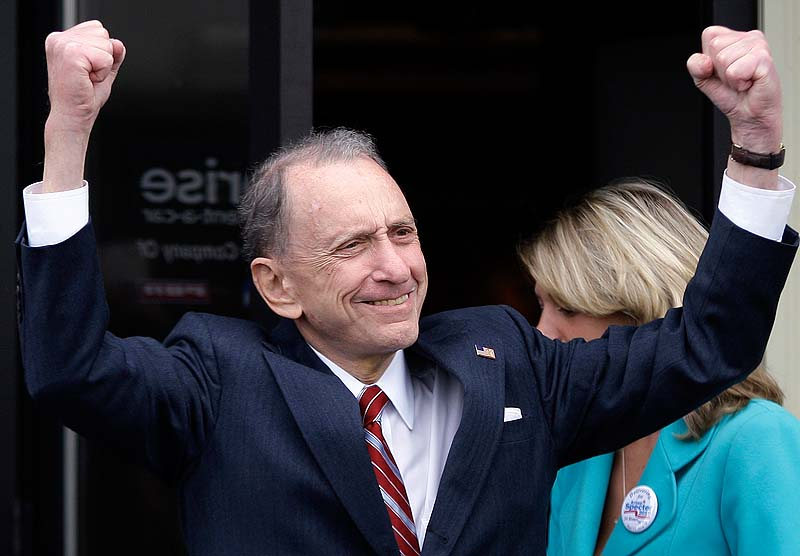 In this May 17, 2010 file photo, Sen. Arlen Specter, D-Pa. campaigns in New Cumberland, Pa. Former U.S. Sen. Arlen Specter, longtime Senate moderate and architect of one-bullet theory in JFK death, died Sunday. He was 82.
