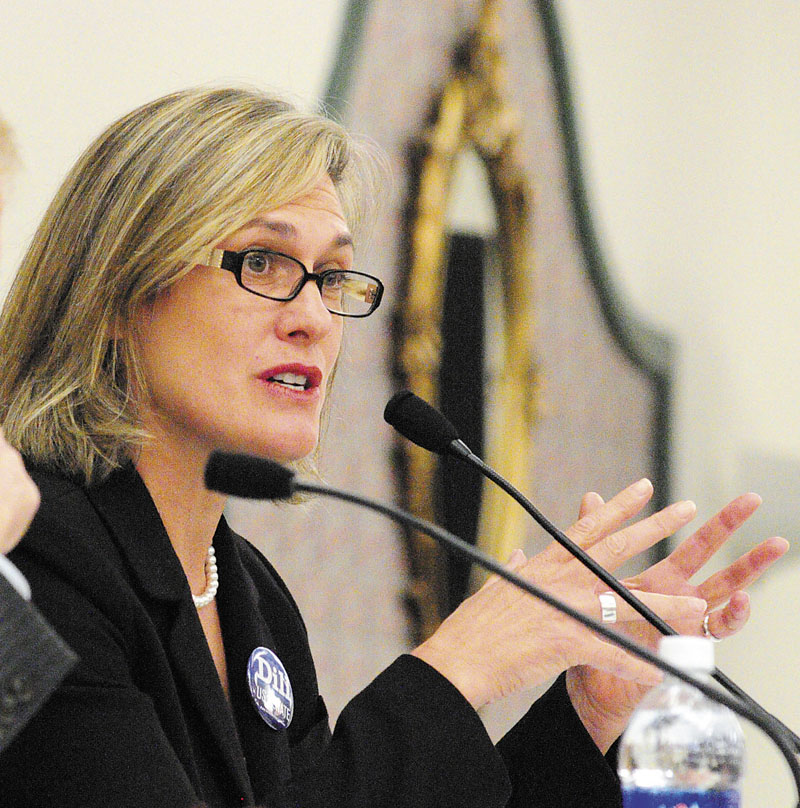 Democratic U.S. Senate candidate Cynthia Dill participates in the Maine Municipal Association's debate Oct. 4 at the Augusta Civic Center.
