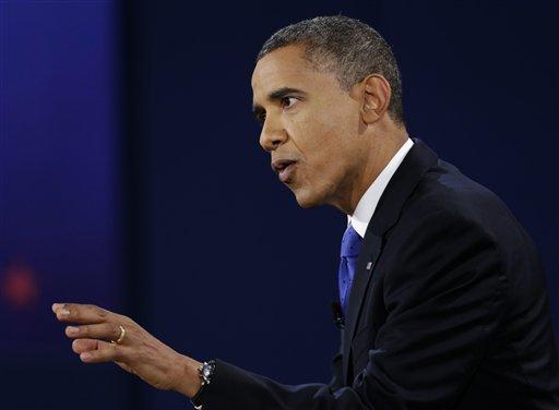 President Barack Obama speaks during the third presidential debate with Republican presidential nominee Mitt Romney at Lynn University, Monday, Oct. 22, 2012, in Boca Raton, Fla. (AP Photo/Eric Gay)