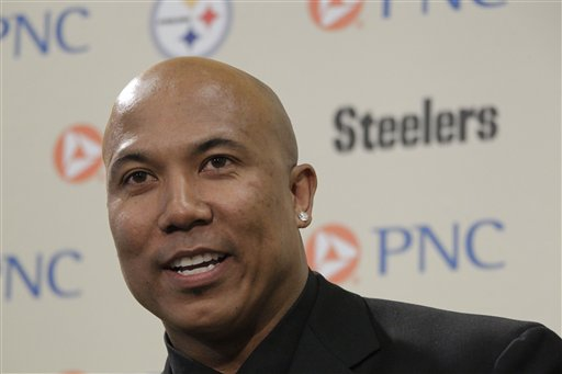 FILE - In a Tuesday, March 20, 2012 file photo, former Pittsburgh Steelers receiver Hines Ward answers a question after announcing his retirement from the NFL at the Steeler's offices in Pittsburgh. Joshua Van Auker, 26, of Pittsburgh, who claims his girlfriend once had a �physical relationship� with retired Pittsburgh Steelers wide receiver Hines Ward, was in custody Friday, Oct. 19, 2012 on charges he tried to extort $15,000 from the player by threatening to release evidence the player had paid for sex. Van Auker was awaiting arraignment on two felony counts of attempted extortion. Van Auker was arrested Thursday in Pittsburgh by detectives from the Allegheny County District Attorney's Office after he allegedly met with Ward's personal assistant, Raymond Burgess, who paid him the money in exchange for unspecified �materials� in an envelope that Van Auker said could prove his claims, according to a five-page criminal complaint. (AP Photo/Gene J. Puskar, File)