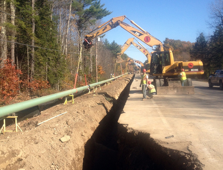 Maine Natural Gas started construction earlier this month installing a natural gas pipeline along Route 17 in Windsor, seen above. The firm worked with the Maine Department of Transportation and its contractors to install 12-inch coated steel pipe under 11 culvert crossings that are being rebuilt this year as part of a paving project.