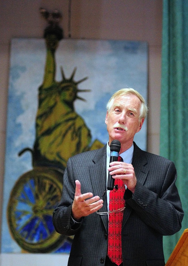 Independent U.S. Senate candidate Angus King speaks during the U.S. Senate Candidates Forum hosted by Disability Rights Center and a coalition of organizations at Le Club Calumet in Augusta.