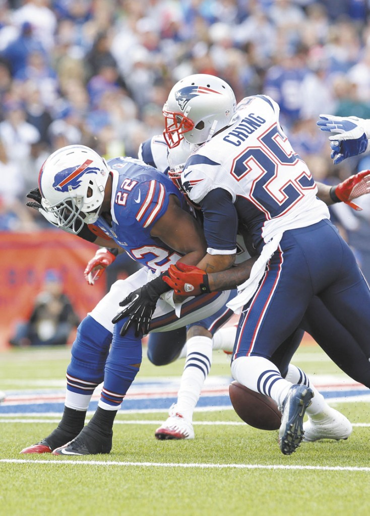 STRUGGLING: New England Patriots safety Patrick Chung missed time during the Patriots 24-23 loss to the Seattle Seahawks with a shoulder injury. His absence made an already struggling Patriots' secondary weaker.