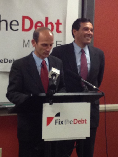 Former Gov. John Baldacci, left, and Rick Bennett, right, at a Fix the Debt news conference in Portland on Thursday, Oct. 25, 2012