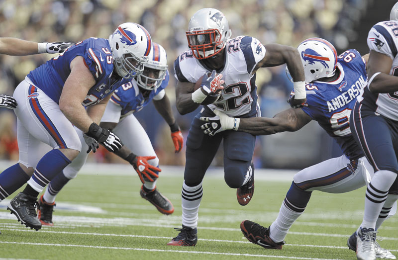 A RUSHING ATTACK: The combination of Stevan Ridley (22) and Brandon Bolden provided over 240 rushing yards last week against the Buffalo Bills.