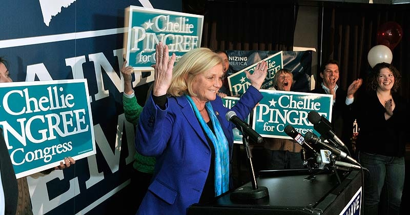 U.S Rep. Chellie Pingree, D-Maine, celebrates her victory at the Bayside Bowl in Portland on Tuesday, November 6, 2012.