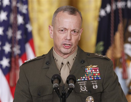 FILE -- In an April 28, 2011 file photo Marine Corps Lt. Gen. John Allen, speaks in the East Room of the White House in Washington. The sex scandal that led to CIA Director David Petraeus' downfall widened Tuesday with word the top U.S. commander in Afghanistan is under investigation for thousands of alleged
