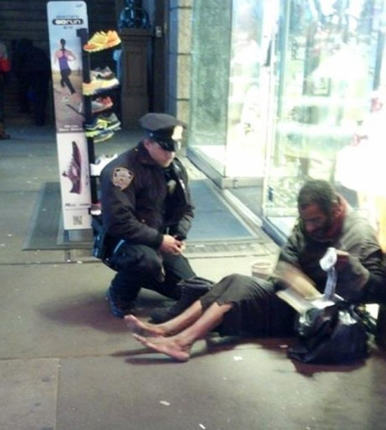 """Jennifer Foster of Florence, Ariz., was visiting Times Square with her husband Nov. 14 and saw a shoeless man asking for change. """"Right when I was about to approach, one of your officers came up behind him. The officer said, 'I have these size 12 boots for you, they are all-weather. Let's put them on and take care of you.' The officer squatted down on the ground and proceeded to put ... socks and the new boots on this man."""