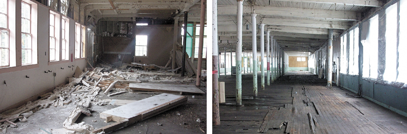 Asbestos-laden debris inside the former Forster Mill in Wilton before its cleanup, left, and after.