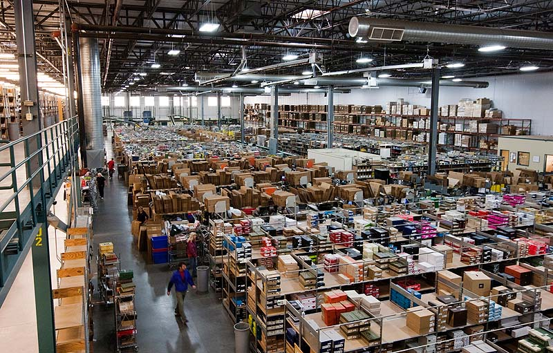 The Sierra Trading Post Fulfillment Center sits stocked in preparation for Cyber Monday in Cheyenne, Wyo. Cheyenne;Wyoming;Sierra;Trading;Post;Fullfillment;Center;Warehou
