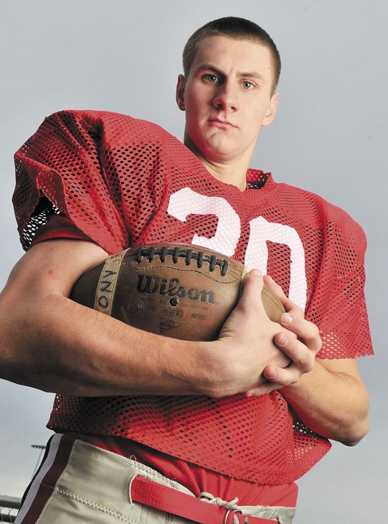 NEW SPORT: Keith Cloutier had never played football when he transferred to Cony High School this year. He's now a starting defensive end for the Rams, who will play in the Pine Tree Conference Class A final on Saturday.