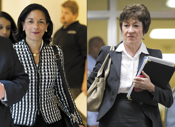 United Nations Ambassador Susan Rice, left, arrives for a meeting on Capitol Hill in Washington Wednesday with Sen. Susan Collins, R-Maine, right, to discuss the Benghazi terrorist attack on Sept. 11.
