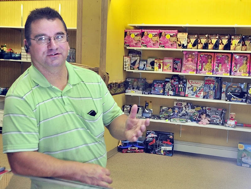 Charles Bragdon recently opened Treasures and Trinkets Discount Store on Water Street in Gardiner.