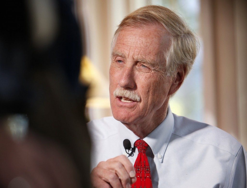 Angus King answers a question during an interview with WMTW reporter Paul Merrill on Oct. 23. King, newly elected to the U.S. Senate as an independent, may announce which party he will caucus with on Wednesday.