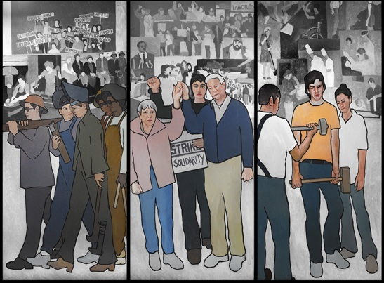 This file photo shows part of a mural depicting Maine's labor history. A lawyer has challenged Gov. Paul LePage to display the mural at the Maine State Museum if he's going to keep it away from its original hanging place.