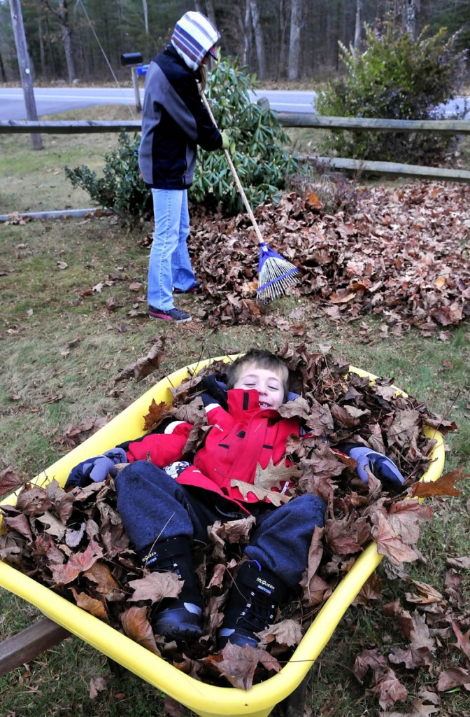 Logan Cagle lies back in a wheelbarrow load of leaves to keep them from blowing away as his mother, Jamie, rakes more in their yard in Waterville on Sunday.
