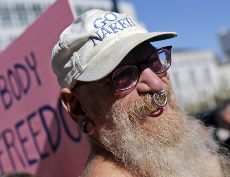 Woody Miller attends a rally outside City Hall in San Francisco last Wednesday in opposition to a proposed citywide ban on public nudity.