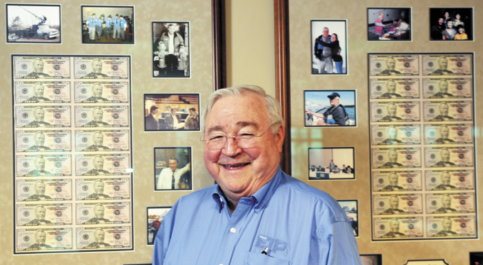 Peter Prescott, the chief executive officer of Everett J. Prescott, Inc. of Gardiner, is being recognized by the Chamber of Commerce with the Lifetime Achievement Award. He was photographed Dec. 5, at his Gardiner office.