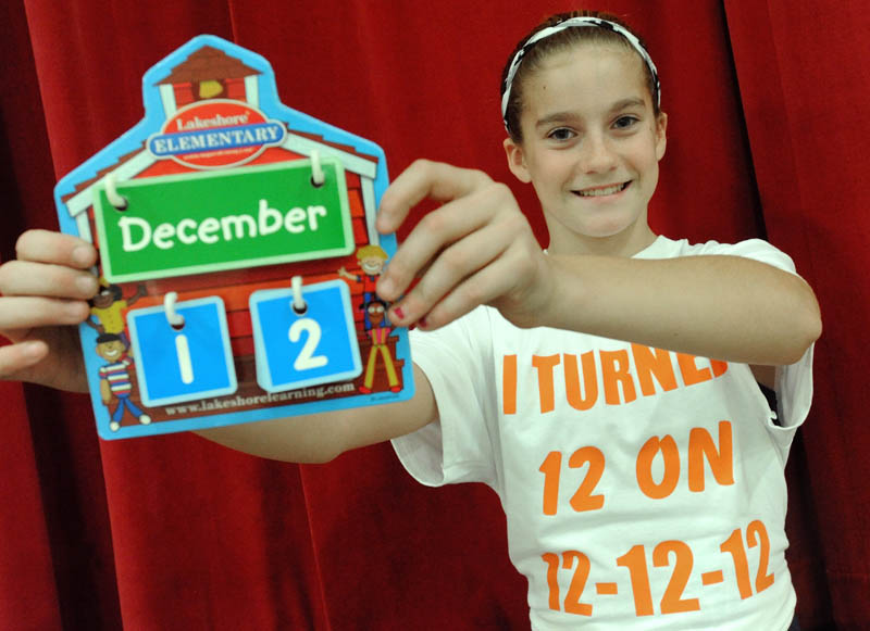 Sydney Ames, 12, poses for a picture at Margaret Chase Smith Elementary School in Skowhegan on her 12th birthday on Wednesday.