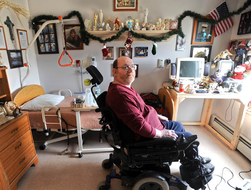 Ernie Verrill, 60, spoke about his own childhood Christmas memories from his room at Lakewood Nursing Home on Kennedy Memorial Drive in Waterville on Christams day.